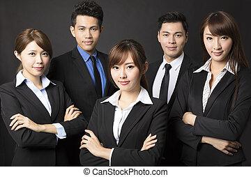 handlowy, kobieta interesu, młody, pomyślny, drużyna