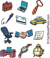 handlowy, komplet, biznesmen, przybory, ikony, zbiór, rzeczy, symbolika