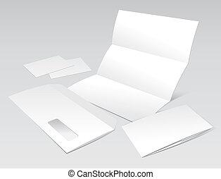 handlowy, koperta, broszura, czysty, bilety, litera
