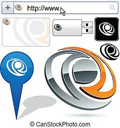 handlowy, logo, oko, 3d, design.