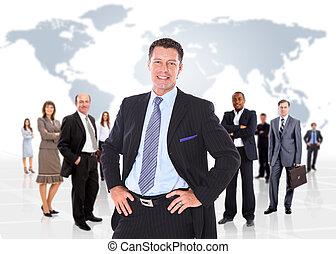 handlowy, na, tło, odizolowany, ludzie., grupa, biały
