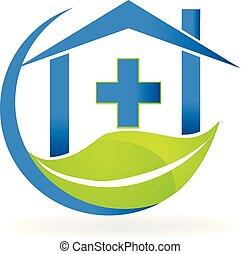 handlowy, natura, symbol, klinika, wektor, logo, medyczny