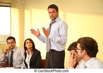 handlowy, nieformalny, -, szef, mowa, spotkanie