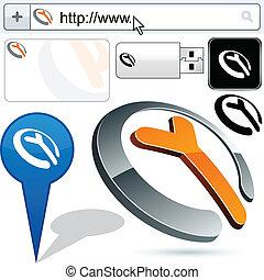 handlowy, noga, logo, 3d, design.