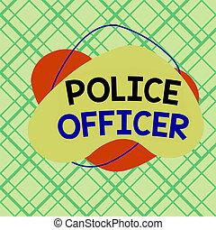 handlowy, oficer, wykonanie, obiekt, prawo, wręczać pisanie, drużyna, showcasing, format, pokaz, szkic, fotografia, policja, multicolor, officer., design., próbka, asymetryczny, demonstrowanie, konceptualny