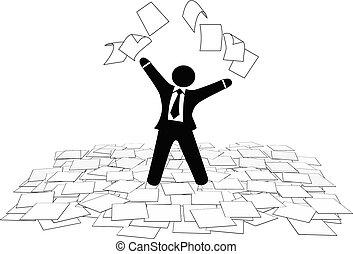 handlowy, podłoga, urządzenia wzywające do telefonu, praca, powietrze, papier, rzuty, człowiek