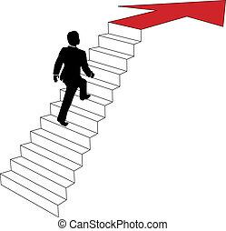 handlowy, podejścia, do góry strzała, schody, człowiek