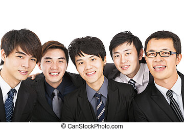 handlowy, pomyślny, odizolowany, asian, drużyna, biały