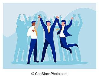 handlowy, powodzenie, świętując, biznesmeni, drużyna, pomyślny