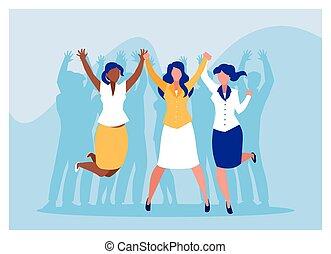 handlowy, powodzenie, świętując, drużyna, businesswomen, pomyślny