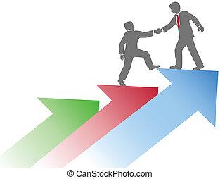 handlowy, powodzenie, ludzie, do góry, porcja, drużyna