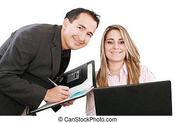 handlowy, pracujące ludzie, laptop, radosny, podczas, spotkanie
