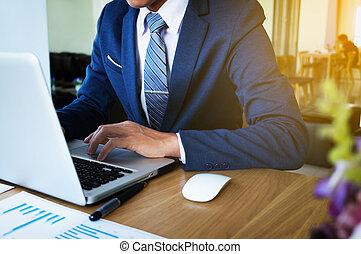 handlowy, pracujący, concept., nowoczesny, ręka, komputer, biznesmen, nowy, strategia
