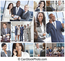 handlowy, pracujący, &, mężczyźni, międzyrasowy, drużyna, kobiety