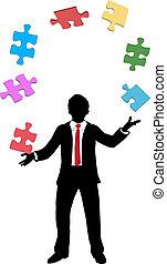 handlowy, problemy, kawałki, kuglarski, zagadka, człowiek