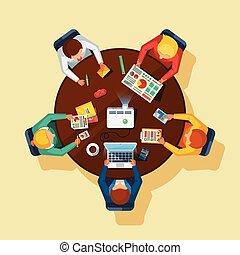handlowy, prospekt, górny, spotkanie, płaski, afisz