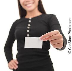 handlowy przypadkowy, karta, kobieta interesu, pokaz, czysty