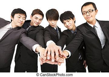 handlowy, razem, drużyna, ręka, asian