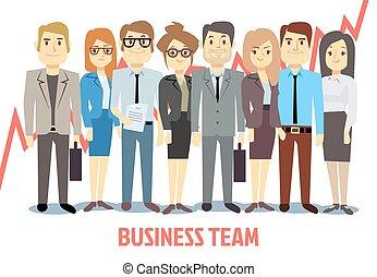 handlowy, razem., wektor, teamwork, reputacja, rysunek, człowiek, pojęcie, drużyna, kobieta