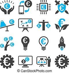 handlowy, służba, ikony, bankowość, narzędzia, euro