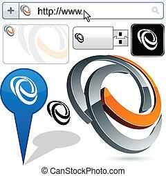 handlowy, skręcony, logo, 3d, design.