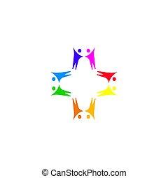 handlowy, sztuka, ludzie, biały, razem, znak, odizolowany, symbol