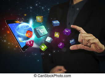 handlowy, tabliczka, ikony, media, concept., towarzyski, ręka, dotykanie, komunikacja