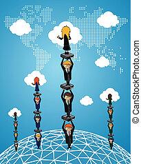 handlowy, teamwork, globalny, ludzie., powodzenie