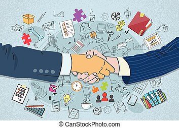 handlowy, uzgodnienie, doodle, potrząśnijcie ręki, pojęcie