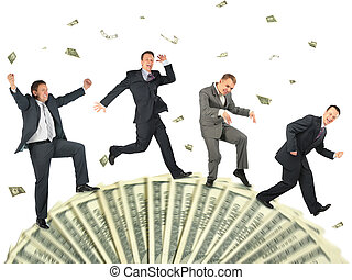 handlowy, weel, collage, ludzie, dolar, wyścigi, szczęśliwy