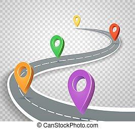 handlowy, wektor, tło., wskazówki, droga, roadmap, szpilki, ilustracja, przeźroczysty, abstrakcyjny, 3d