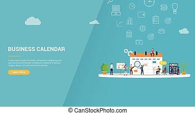 handlowy, wektor, website, pojęcie, lądowanie, chorągiew, szablon, albo, kalendarz, -, homepage