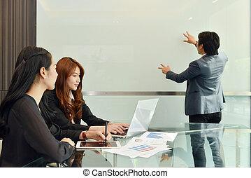 handlowy, whiteboard, teamwork, asian, czysty, spotkanie, posiadanie