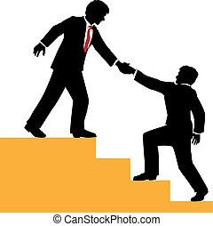 handlowy, wspinać się, pomoc, powodzenie, ludzie