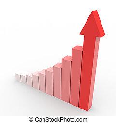 handlowy, wykres, do góry, arrow., chodzenie, czerwony