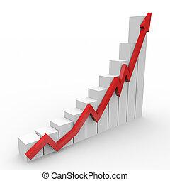 handlowy, wykres, do góry, chodzenie, strzała, czerwony