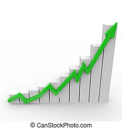 handlowy, wykres, do góry, chodzenie, zielony, strzała