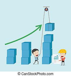 handlowy, wykres, próba, budować, człowiek, inżynier