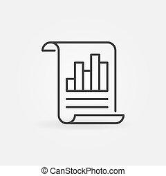 handlowy, wykres, znak, wektor, zameldować, kreska, dokument, icon.