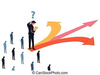 handlowy, zażenowany, decyzja, kierunek, dyrektor, ustalać