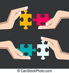 handlowy, zagadka, rozłączenie, kawałki, hands., ludzki, strategia, symbol.