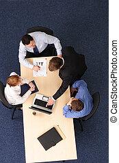 handlowy zaludniają, -, cztery, brainstorming, spotkanie