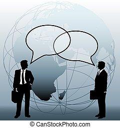 handlowy zaludniają, globalny, połączyć, drużyna, bańki, rozmowa