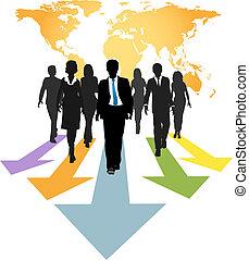 handlowy zaludniają, globalny, strzały, naprzód, postęp