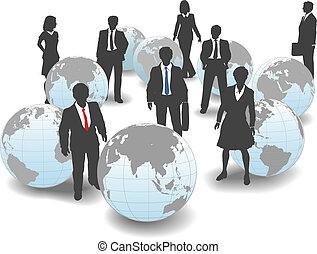 handlowy zaludniają, globalny, workforce, drużyna, świat
