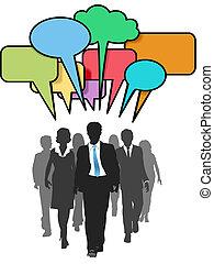 handlowy zaludniają, kolor, chód, towarzyski, bańki, rozmowa