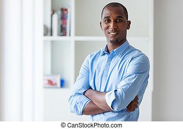 handlowy zaludniają, -, młody, amerykanka, czarnoskóry, afrykanin, portret, człowiek