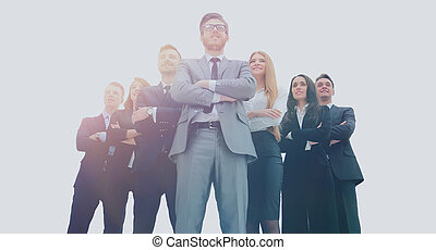 handlowy zaludniają, -, młody, pociągający, drużyna, elita