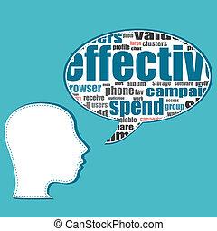 handlowy zaludniają, media, mowa, towarzyski, bańki, rozmowa