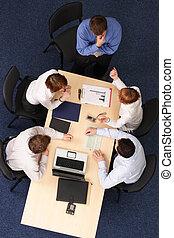 handlowy zaludniają, -, piątka, brainstorming, spotkanie